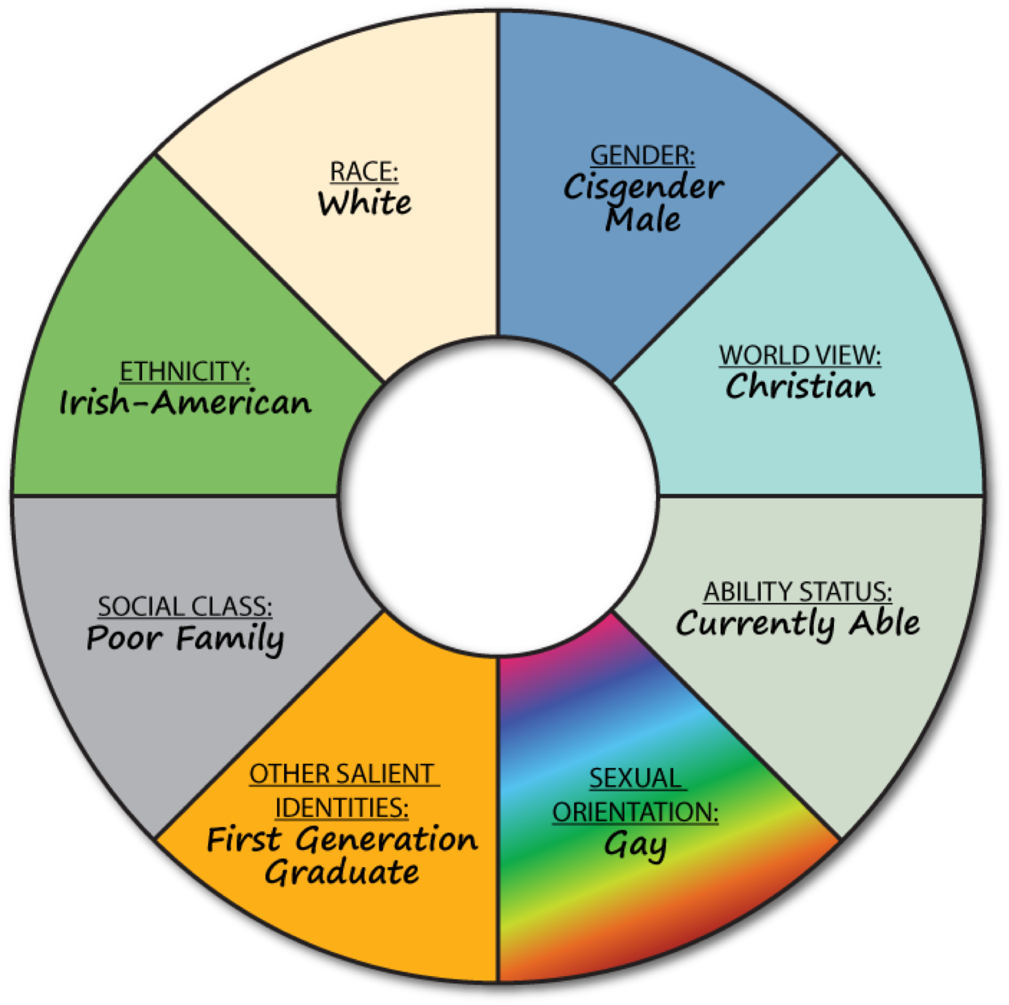 example of a completed social identity wheel