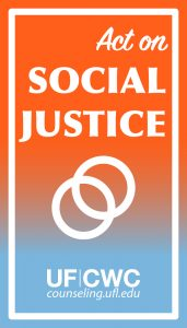 "image of the front of an ""act on social justice"" card"